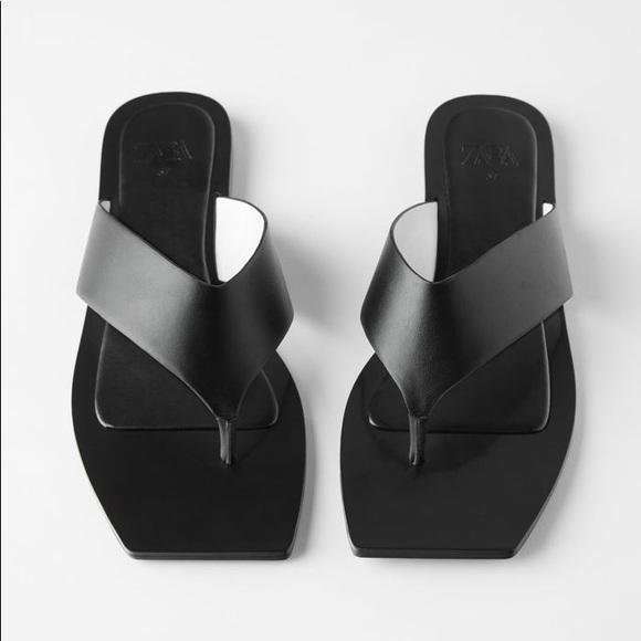 Zara square toe minimal flip flop sandal COS Mango